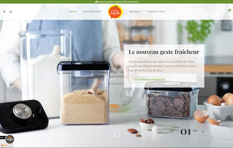 Push and Fresh - boîtes de conservation alimentaire